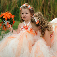 Orange White Hydrangea Tutu Dress, Toddler Tutu Dress, Flower Girl Dress 12 month to 2 Toddler