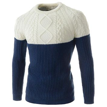 Men Pullover Sweater Casual Sweaters Male High Quality Patchwork Men Sweater Pullovers Coats Cashmere