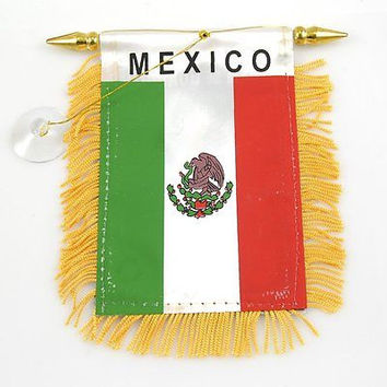 Mexico Flag Mexico Mini Banner-Mexico Mini Flag with Suction Cup-Brand New!