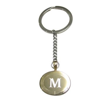 Gold Toned Etched Oval Letter M Monogram Pendant Keychain