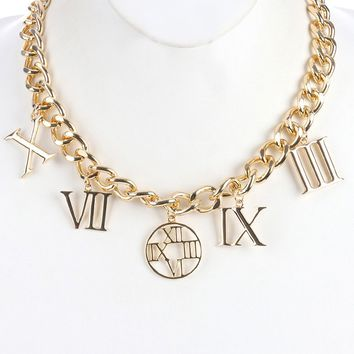 Gold Metal Roman Numeral Chunky Charm Chain Necklace