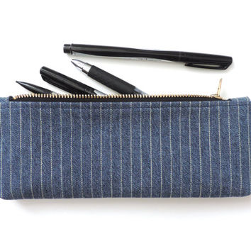 Pencil Case Zipper Pencil Pouch Stripe Denim