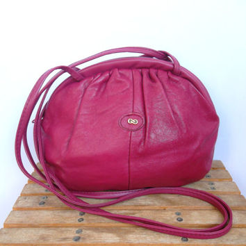 Fuschia Tote, Hot Pink Purse, Genuine Leather Bag, Soft Zipper Pouch, Shoulder Bag, Distressed Handbag, Slouchy Purse, Purple Organizer
