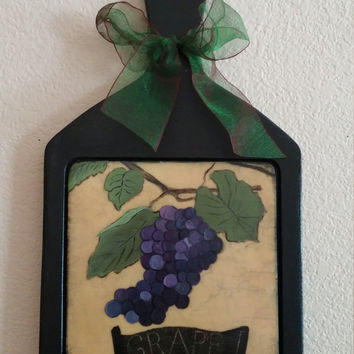 Decorative cutting board, wood cutting board,kitchen decor, wall decoration, hand painted cutting board,kitchen art, grape decor, grape art