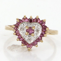 Vintage 10 Karat Yellow Gold Diamond Ruby Heart Cocktail Ring Estate Jewelry