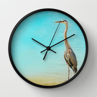 Wading - Blue Heron - Wildlife Wall Clock by Jai Johnson