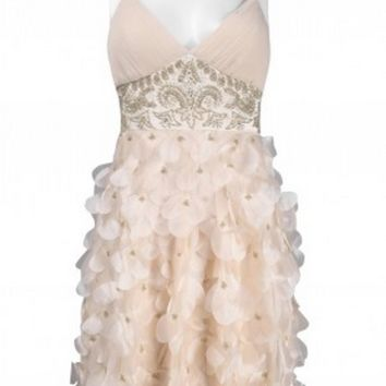 Sue Wong N9111 Petal Cocktail Dress Champagne