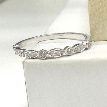 Diamond Ring 14K White Gold,Art Deco Antique,Bezel Diamond Eternity Women Diamond Anniversary Ring Bridal Band/Eternity Ring/Promise Band