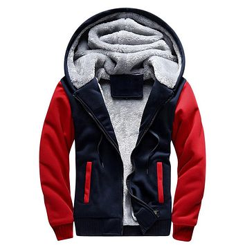 Russia Size Winter Inner Wool Thick Hoodies Men Hoody Pullover Cotton Bomber Jacket Coats Fleece Cardigans Mens Sweatshirts 2018