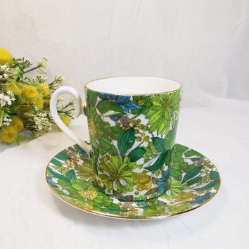 Guinevere Mug, Cup and Saucer by Royal Albert, Blue Green Gold Floral, Teacup Vintage English Bone China