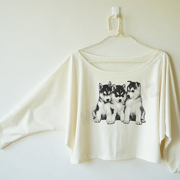 Cute Puppy tshirt siberian husky tshirt dog tshirt animal tshirt off shoulder sweatshirt bat sleeve shirt oversized long sleeve women tshirt
