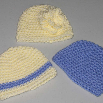 Preemie Hats  / Set of 3 Hand Crocheted Hats in  Blue and Cream