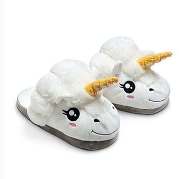 Cartoon Adorable Unicorn White Cotton Slippers Winter Shoes One Size