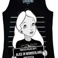Women's Twisted Alice In Wonderland Mug Shot Vest Top