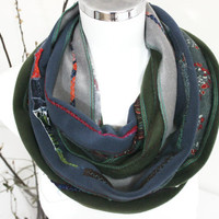 Handmade infinity, Polar velvet tube scarf, Green gray blue scarf, Patchwork scarves, Winter scarf Unisex, Unique items, Christmas gifts