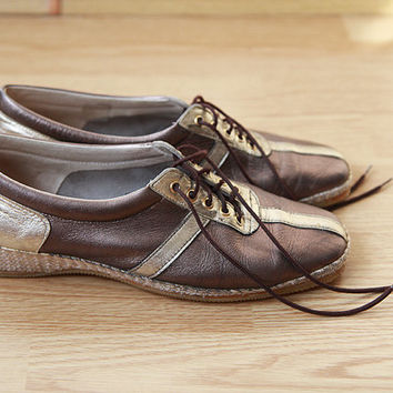 Metallic leather super soft sporty leather shoes 38