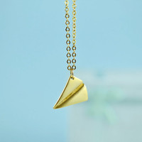 Paper Airplane Pendant Necklace, Gold Plated Brass, Delicate Chain, Everyday Wear, Perfect Gift