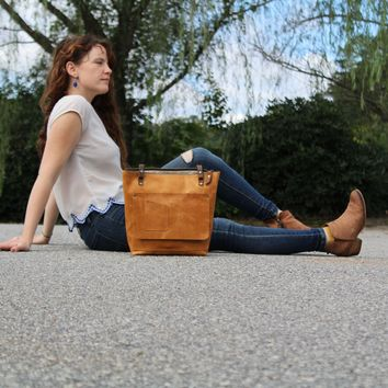 Leather Tote Bag | In Blue Handmade Bag