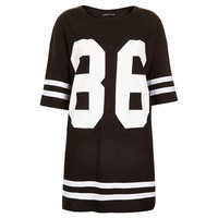 2015 New Fashion Women Celeb Plus Size 86 American Baseball Tee T-shirt Top Loose Fit Short Sleeve Loose Shirt Dress Black/White S-XL = 1667948164