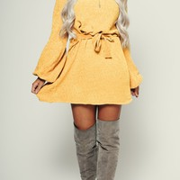 It's A Daze Knitted Dress (Mustard)