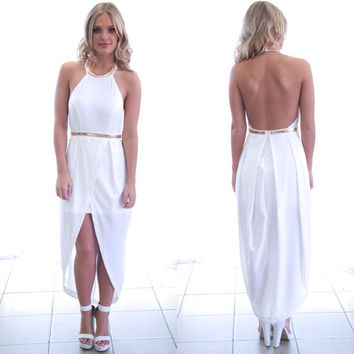 White Halter Neck Gold Asymmetrical hem Maxi Dress