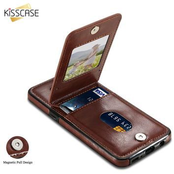 KISSCASE Leather Flip Case For Samsung Galaxy Note 9 S9 S8 Plus Card Holder Back Flip Cover For Samsung S6 S7 Edge Wallet Cases