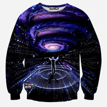 The Amazing Show Space Galaxy Crew Neck Sweatshirt Men & Women Black Hole Harajuku Style All Over Print Sweater
