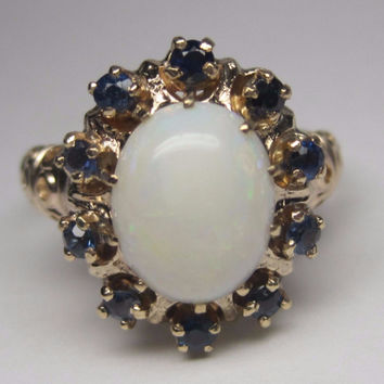 Vintage 10K White Opal Sapphire Halo Ring Size 6.5