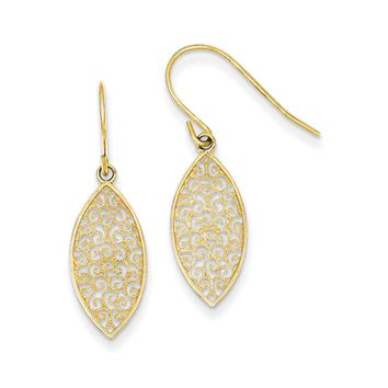 Marquise Filigree Dangle Earrings in 14k Yellow Gold