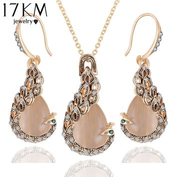 Pendientes Austrian Crystal Circle Opal Peacock Jewelry Sets  Gold Peacocks Necklace Drop Earrings Set For Women Gift joyeria