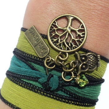 Owl Silk Wrap Bracelet Yoga Jewelry Tree of Life Believe Upper Arm Band Unique Gift for Her Mothers Day Birthday Under 30 Item V9