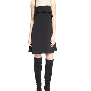 Alice + Olivia Etta Sleeveless Chiffon Ruffle Slip Dress, Black