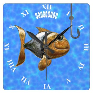 Golden Silver Sparkling Fish With Fishing Hook Square Wall Clock