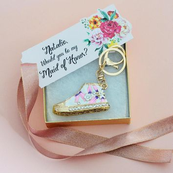 personalized maid of honor bridesmaid gift gold and pink sparkly converse shoes keyc