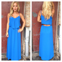 Blue Chiffon Open Back Maxi Dress