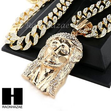 "Hip Hop 14k Gold Plated Jesus Face PAVE Pendant 30"" Iced Out Cuban Link Chain N5"
