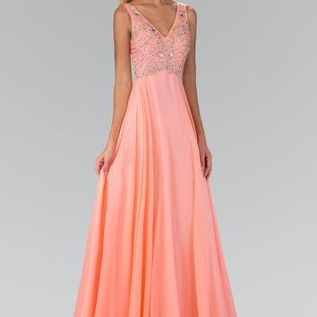 Sparkling Beaded Bodice V cut neckline Long Chiffon Prom Dress #gl2115