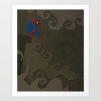 Paper Heroes - Spiderman Art Print by Greg-guillemin