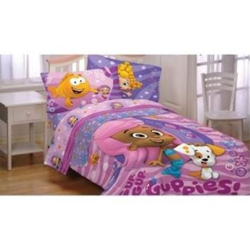 Bubble Guppies Fun Twin Bedding Set - 4pc Molly Bubble Puppy Comforter Sheets Twin-Single Bed