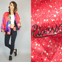 vintage 1980's oversized ABSTRACT cubism geometric hipster art PABLO PICASSO statement bomber jacket, one size fits all
