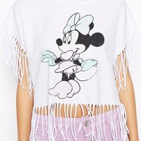 ASOS Crop T-Shirt with Minnie Mouse Print and Fringing