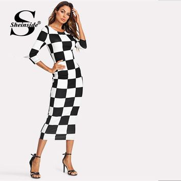 Checkered Print Dress Women Three Quarter Length Sleeve