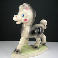 Rempels Frisky the Pony Figurine on Base, Diamond Pottery, Made in Ohio, Animal Figurine, Circa 1940-1950s, Child Baby Room, Vintage Pottery