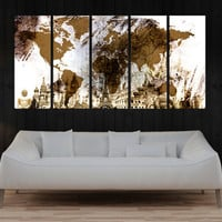 abstract art print, pastel colors world Map art print, Large world map wall art canvas, fine art print Living room and decor, 8s52