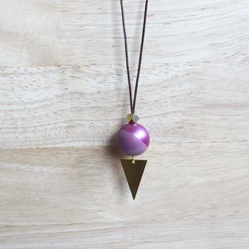 long wooden pendant necklace radiant orchid // simple boho necklace with hand painted wooden bead - eco-friendly everyday jewelry