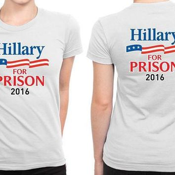ESBH9S Hillary Clinton For President 2016 (4) B 2 Sided Womens T Shirt