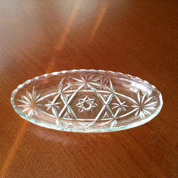 Vintage Anchor Hocking Star of David Cut Glass Side Dish, Serving Dish, Candy Dish, Pickle Dish