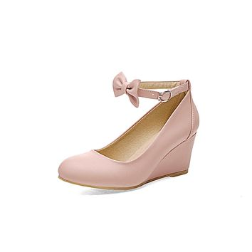 Shallow Toe Buckle Wedges Shoes Women with Bowtie