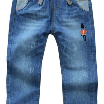 High Quality Kid Toddler Child Boy Washed Full Length Mid Elastic Waist Pants Trousers Regular Denim Jeans