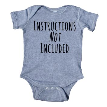 Instructions Not Included Baby Bodysuit Funny Cute First Child Newborn Infant Girl Boy Baby Shower Gift Clothing